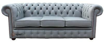 Chesterfield Traditional 3 Seater Sofa Suite Settee Moon Mist Grey Leather