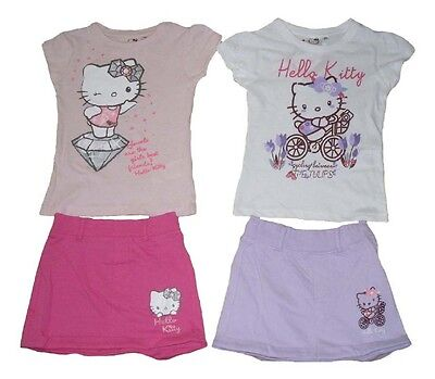 Girls 2 Piece Set Skirt & T-Shirt Hello Kitty 3-10 Years Old