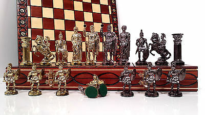 Chrome SPARTAN Wooden Chess Set SENATOR Chessboard 40x40cm & Weighted Pieces !!!