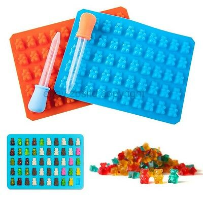 50-Cavity Silicone Gummy Bear Candy Mold Maker Ice Chocolate Tray w/ Dropper