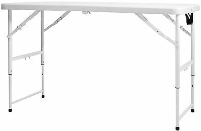 4ft Folding Trestle Table w/ Height Adjustments for Outdoor Camping Garden
