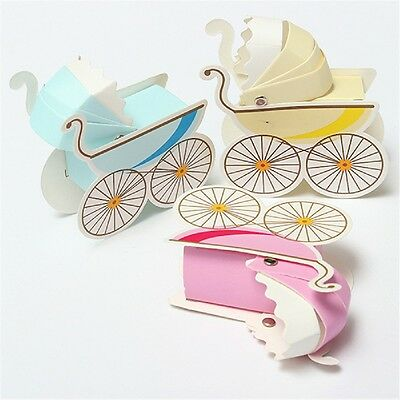 10Pcs Wedding Candy Box Stroller Shape Party Baby Shower Favor Gift Brand New