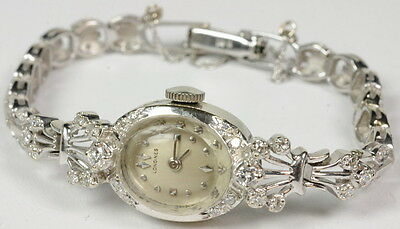 Ladies Antique Vintage 14K W Gold Diamond Longines Estate Watch G270201