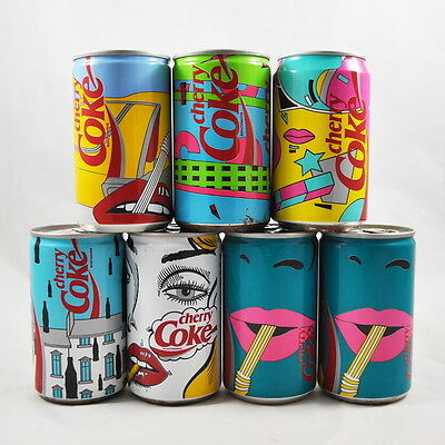 "7 x Cherry Coke Dosen ""Pop Art"" - voll / ungeöffnet / unopend / cans / Germany"