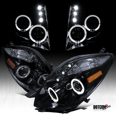For Glossy Black 06-08 Toyota Yaris 2Dr Hatchback LED Halo Projector Headlights