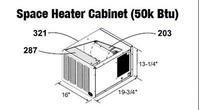 Central Boiler (COMPLETE) Space Heater Cabnet (50k Btu)