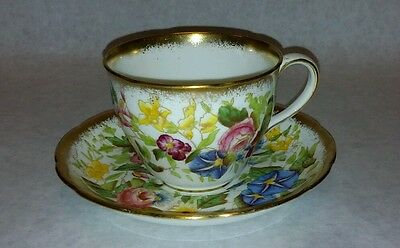Queen Anne Hammersley English Bone China Tea Cup and Saucer Floral and Gold