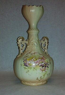 "Robert Hanke RH Vtg Porcelain Pitcher Vase Floral Austria 10"" Light Beige/Cream"