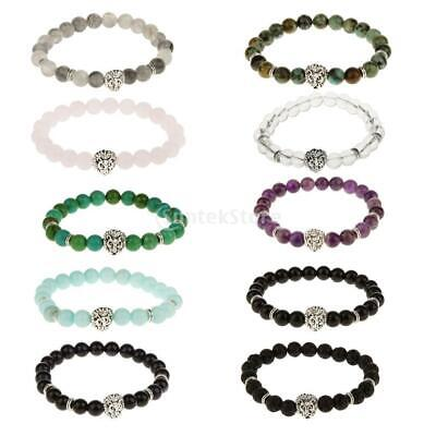 8mm Prayer Natural Loose Spacer Craft Stone Bead Silver Lion Head Bracelet