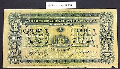 1918 £1 Commonwealth Banknote R21 cerutty/Collins  C456047 T