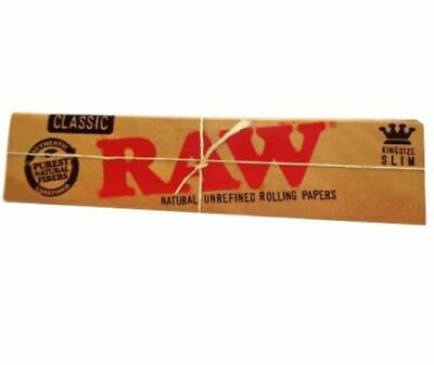 RAW King Size Slim classic Tobacco Cigarette Rolling Papers 32 Leaves
