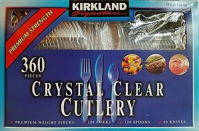 Kirkland Signature Crystal Clear Cutlery Set Forks Spoons Knives 360 Pieces New