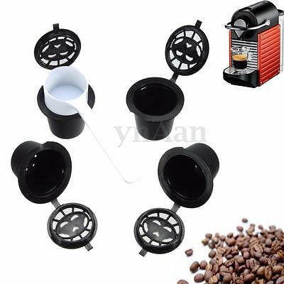 4x Refillable Reusable  Coffee Capsules Pods For Nespresso Machines Spoon