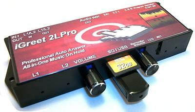 NEW iGreet 2LPro 2 Line Auto Attendant + Music On Hold for PBX or 1-4Line phones