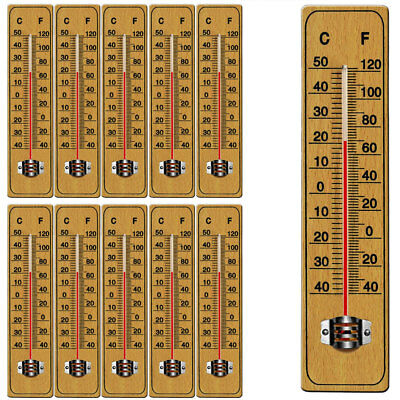 10x Wooden Wall Thermometer Temperature Outdoor Indoor Garden Greenhouse 22cm