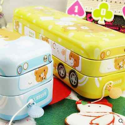Cute Bus High Quality metal Pencil case/ Fold up Container