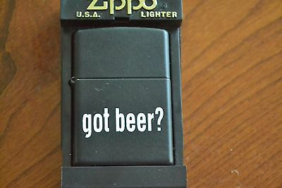 ZIPPO Lighter, Got Beer?, Black Matte, 2001, Unfired, M1159