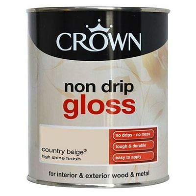 Crown Wood Metal Non Drip Gloss Decorating Paint Country Beige 750Ml