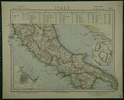 1883 Letts Map ~ Italy Central Naples Inset Ancient Rome Umbria Napoli
