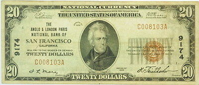 1929 $20 Dollar National Currency Note San Fran VF