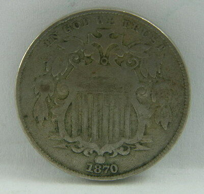 1870 US Mint Shield Nickel 5 Five Cent Coin