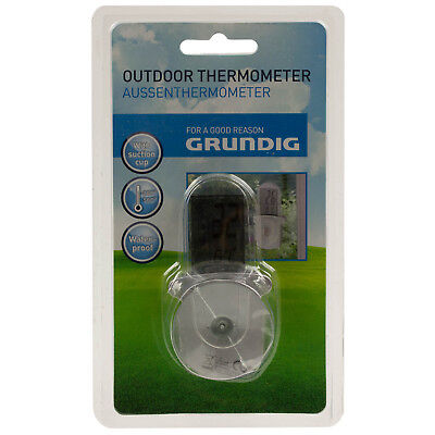 Grundig Digital LCD Garden Min Max Humidity Outdoor Wall Thermometer Weather New