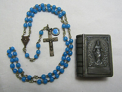 † HTF RARE 1800s ANTIQUE BRASS & BLUE GLASS ROSARY & SMALL BOX CASE ST ANTHONY †