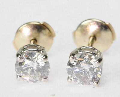 14K White Gold 4 Prong Basket Set 1 CTTW Round Stud Stick Estate Earrings