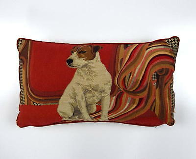 IOSIS Red Cotton Tapestry Terrier Dog Knit Rectangle Throw Pillow Cover Sham 17""