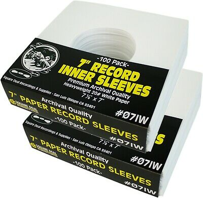 """(200) 07IW 7"""" White Paper Record Inner Sleeves ACID FREE 45 RPM ARCHIVAL Covers"""