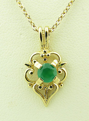 """Beautiful Vintage 14k Gold Filled G.F. Green Onyx Pendant Necklace w/ 16"""" Chain"""
