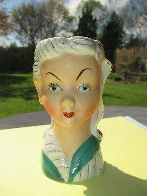 Lady Headvase Hand Painted Bisque & Glazed Waved & Curled Styled Hairdo Japan