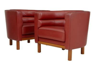 PAIR OF 1970's LARGE RED LEATHER CLUB ARMCHAIRS