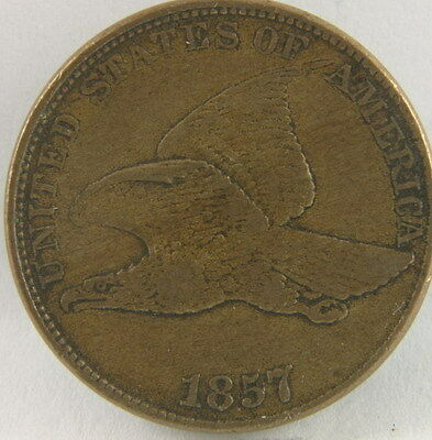 1857 Flying Eagle Copper Cent In Very Fine Condition