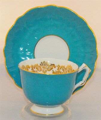 Aynsley Turquoise  Blue Gold Scroll Tea Cup And Saucer Set (Teacup)