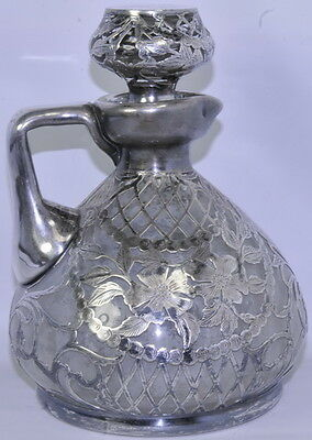 Antique Sterling Silver 925 Wine Liquor Decanter Glass Bottle Lid Stopper Flower