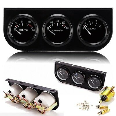 52mm Triple Gauge Kit Oil Temp Water Temp Temperature Oil Pressure Car Meter