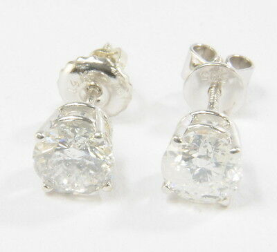 14k White Gold Round 1 1/3 Ct Diamond 4 Prong Basket Set Stud Estate Earrings