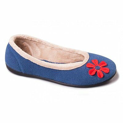 Padders HAPPY Ladies Womens Felt Wide E Fit Soft Comfy Ballerina Slippers Blue