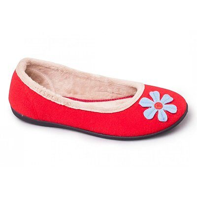 Padders HAPPY Womens Ladies Felt Wide E Fit Memory Foam Ballerina Slippers Red