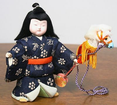 Vintage Japanese Girl Doll in Kimono. Stick Horse Toy. Gofun Face. High Quality