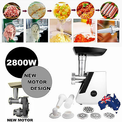 2800W Electric Meat Grinder Sausage Maker Filler Mincer Kibbe Stuffer Maker AU