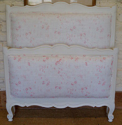 French Vintage Single Bed upholstered in PEONY & SAGE 'Lydia'