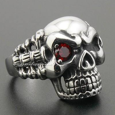316L Stainless Steel Bone Skeleton Red CZ Eye Skull Mens Biker Punk Ring 6N001B