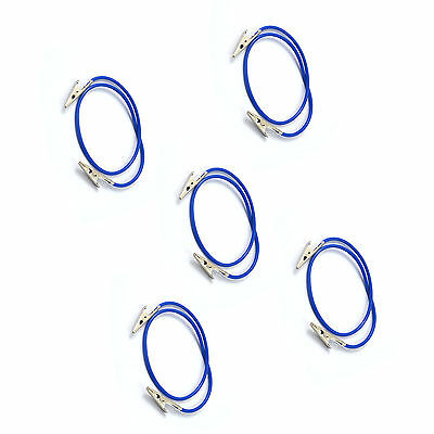 Set of 5 Dental Silicone Instrument Colorful Bib Clips Cord Napkin holders Blue