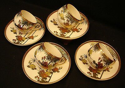 "MARKED Nikko JAPANESE MEIJI PERIOD SATSUMA CUP & SAUCER TEA SET 2 1/8"" OPEN"
