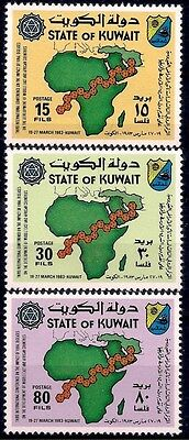 Kuwait 1983 Virus Congress Health Medicine Medical Maps Arms 3v set MNH