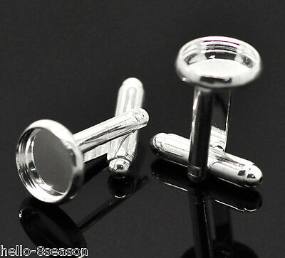 5 Pairs Silver Plated Cabochon Setting Cuff Links 26x12mm(Fit 10mm)
