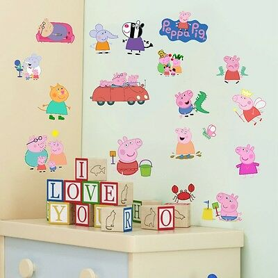 peppa pig wall decal decor for baby girls nursery decor 18 stickers kids decor
