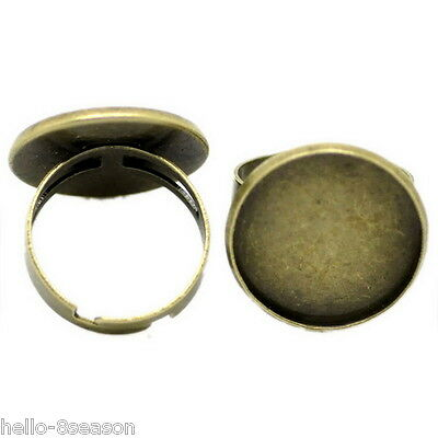 10 Bronze Tone Adjustable Round Cabochon Setting Rings 18.3mm US 8(Fit 20mm Dia)